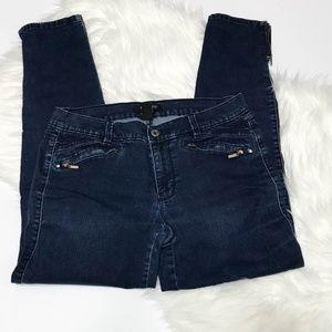 WHBM  Dark Wash Zipper Ankle Skinny Jeans 10R